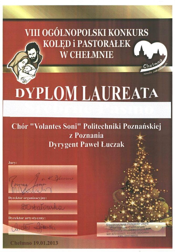Dyplom laureata - ogólnopolski konkurs kolęd i pastorałek