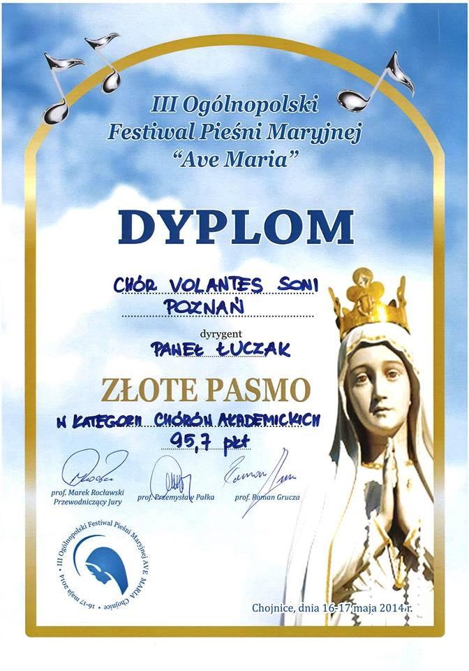 """III Ogólnopolski Festiwal Pieśni Maryjnej """"Ave Maria"""" - Złote Pasmo"""